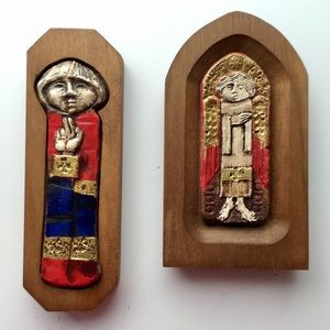 Painted Carved Wood Saints Plaque Wall Decor